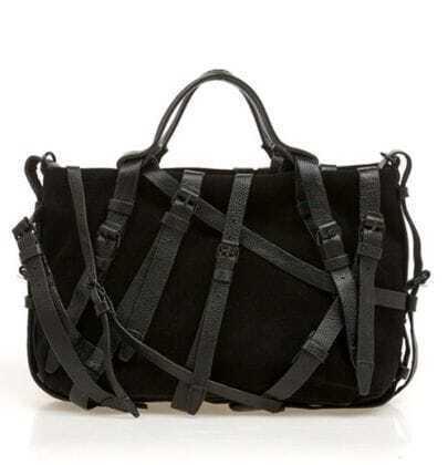 Black Belt Leather Handbag