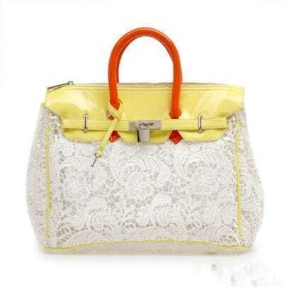 Yellow Lace Lucency Platinum Handbag