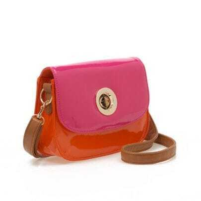 Orange and Pink Vintage Patent Leather Shoulder Bag