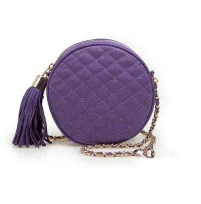 Purple Round Lambskin Chain Bag