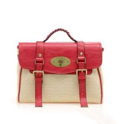 Straw Plaiting Red Vintage Satchel Bag
