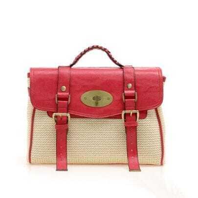 Straw Plaiting Red Vintage Satchel Bag