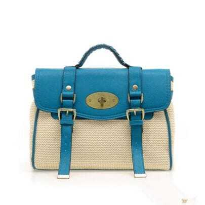 Straw Plaiting Blue Vintage Satchel Bag