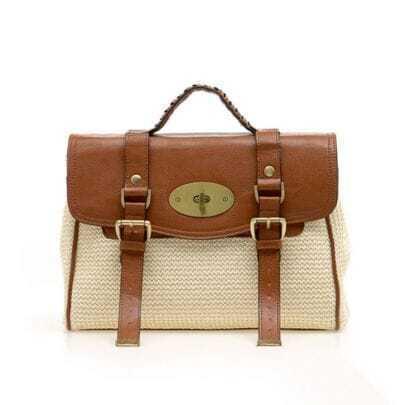 Straw Plaiting Brown Vintage Satchel Bag