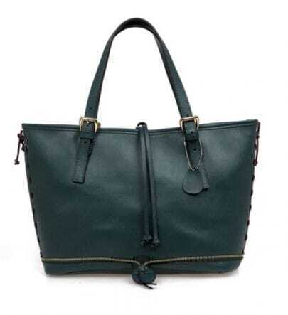 Green Leather Tote Bag(3 Size)
