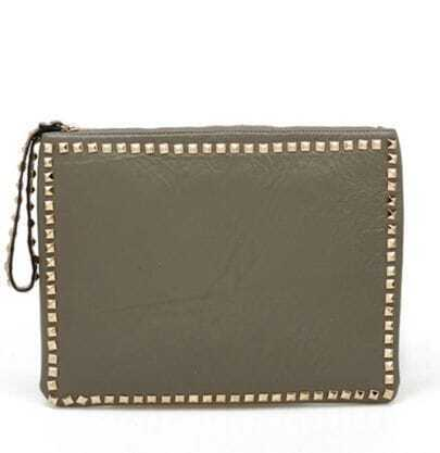 Grey Soft Leather Rivet Handbag