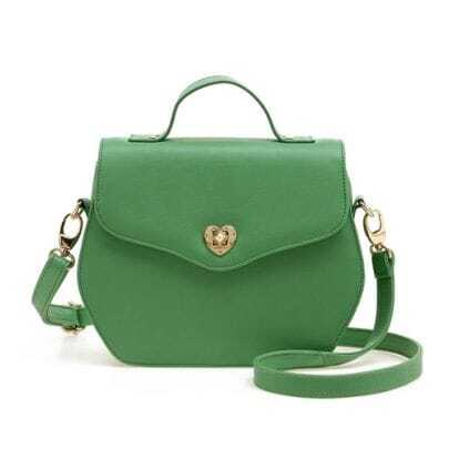Green Rivet Vintage Handbag with Strap