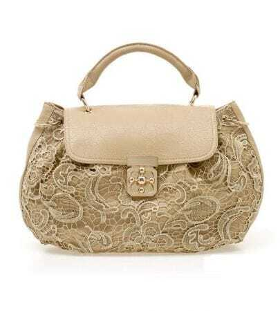 Apricot Lace Handbag With Strap