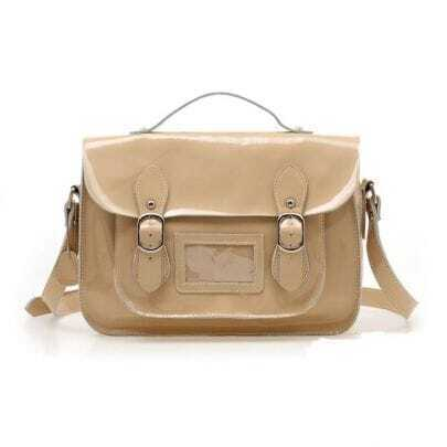 Naked Color Patent Leather Shoulder Bag