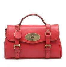 Red Leather Vintage Brifecase Bag