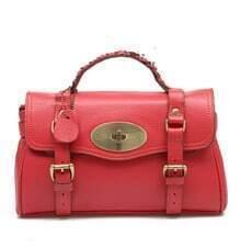 Red Leather Vintage Brifecase Bag
