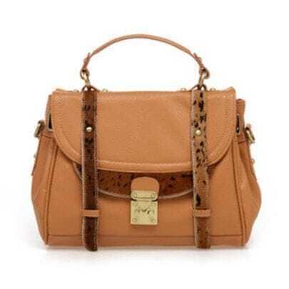 Vintage Camel Patchwork Leopard Handbag
