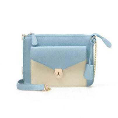 Blue Patchwork White Handbag