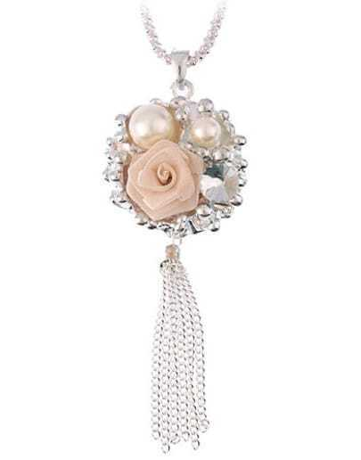 Tassel Flower And Beads Necklace