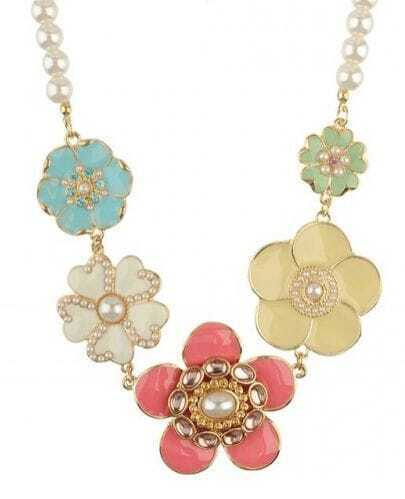 Mulitcolor Flowers With Beads Necklace