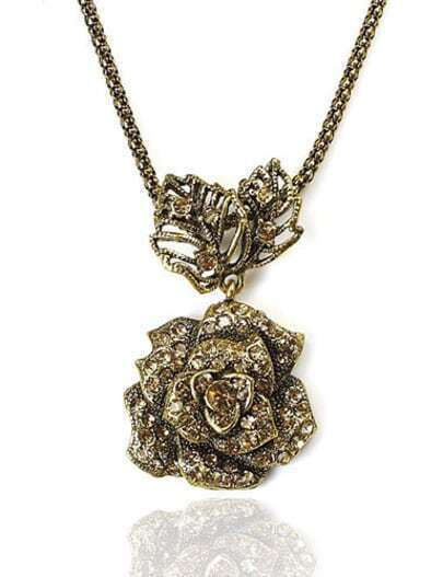 Vintage Rose And Leaves Pendant Necklace
