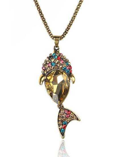 Vintage Fish Mulitcolor Crystone Pendant Necklace