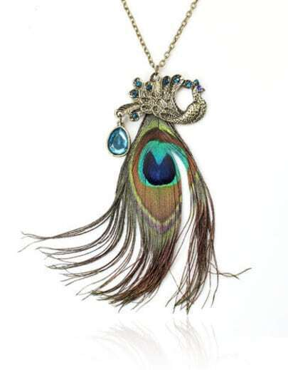 Vintage Peacock Feather Pendant Necklace