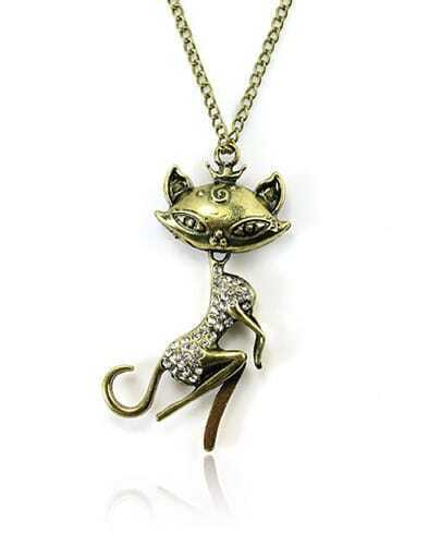 Vintage Cat Rhinestone Pendant Necklace