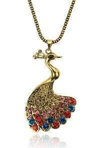 Vintage Peacock With Mulitcolor Rhinestone Necklace