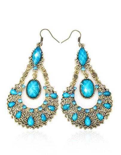 Bohemia Vintage Rhinestone Teardrop Earring Blue