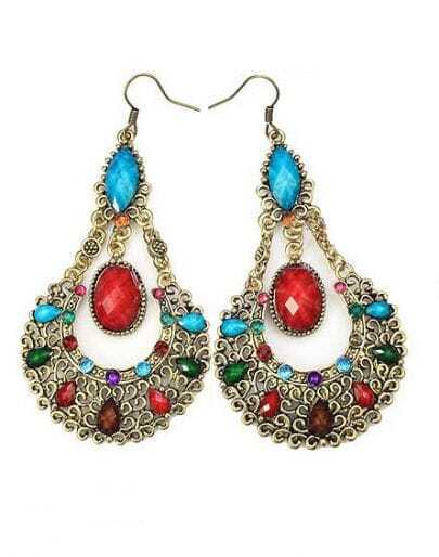 Bohemia Vintage Rhinestone Teardrop Earring Colorful