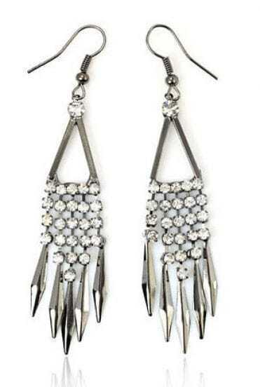 Simple Rhinestone Tassel Earring Silver