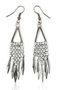 Simple Rhinestone Tassel Earring Silver