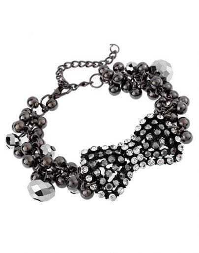 Bow Rhinestone Beading Bracelet Black