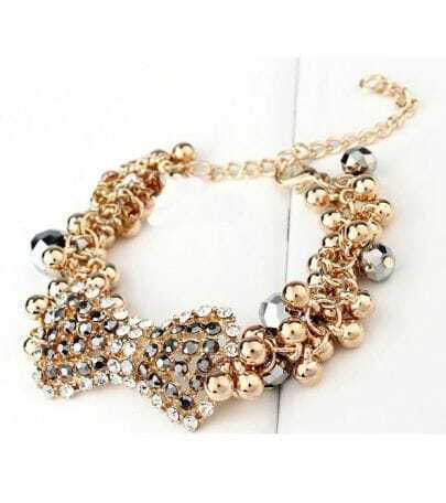 Bow Rhinestone Beading Bracelet Golden