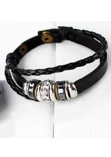 Vintage Leather Rope Ring Bracelet Black