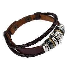 Vintage Leather Rope Ring Bracelet Coffee