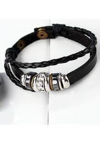 Vintage Leather Rope Ring Bracelet Black