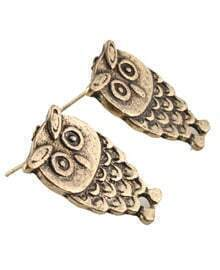 Vintage Bronze Owl Earring