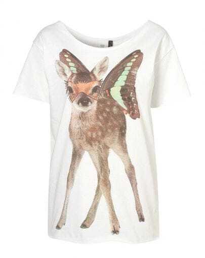 Deer Printed Round Neck Short-sleeved T-shirt