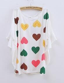 White Heart Printed Short Dolman Sleeve T-shirt
