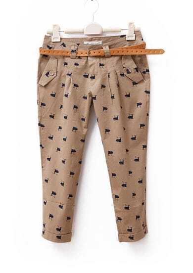 Whale Printed Mid-waist Casual Capris Coffee