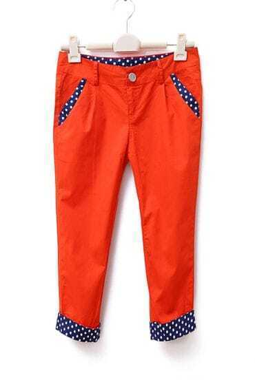 Vintage Polka Dot Mid-waist Capris Orange