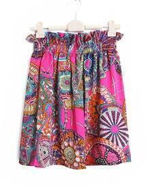 Vintage Printed A-line All-match Skirt Red