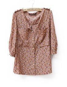 Vintage Fish Printed Round Neck Chiffon Shirt Brown