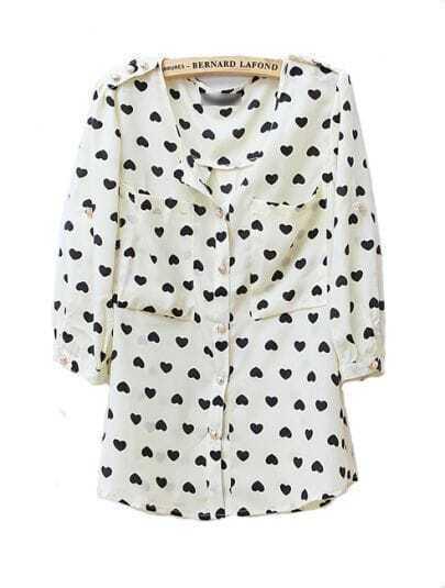 Vintage Heart Printed Round Neck Chiffon Shirt Beige