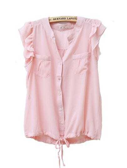 Ruffle Sleeveless Round Neck Solid Chiffon Shirt Pink
