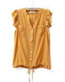 Ruffle Sleeveless Round Neck Solid Chiffon Shirt Yellow
