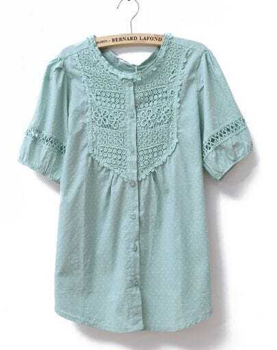 Lace Polka Dot Solid Short-sleeved Loose Shirt Green