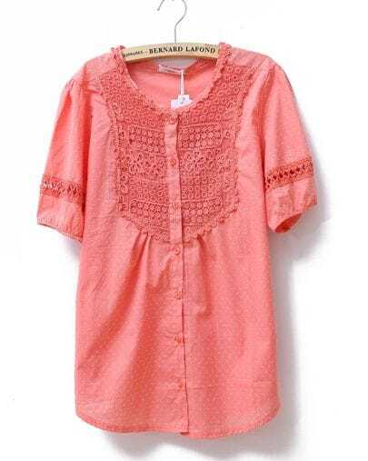 Lace Polka Dot Solid Short-sleeved Loose Shirt Red