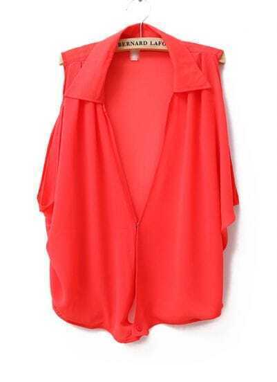 Single Button Lapel Sleeveless Chiffon Shirt Red