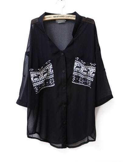 Pockets Color Metching V Neck Chiffon Shirt Black
