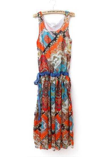 Bohemia Printed Round Neck Sleeveless Dress Orange
