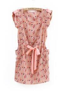 Vintage Birds Printed Pockets Sashes Dress Pink