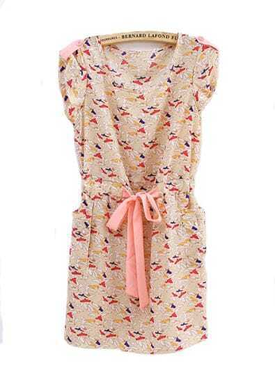 Vintage Birds Printed Pockets Sashes Dress Yellow